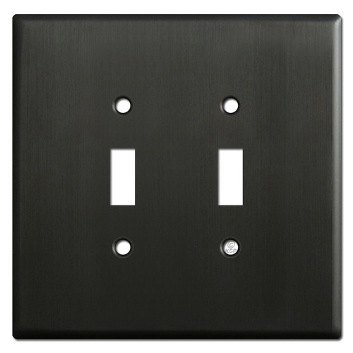 Oversized 2 Light Toggle Switch Plates - Dark Bronze