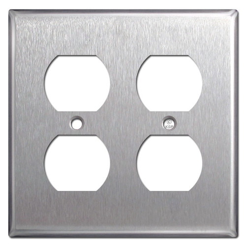 2-Gang Outlet Cover Plate for 4 Plugs - Stainless Steel