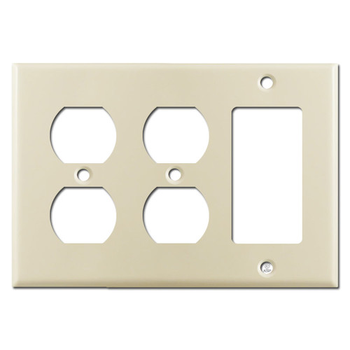 2 Duplex Receptacle 1 GFCI Rocker Switch Plate Covers - Ivory