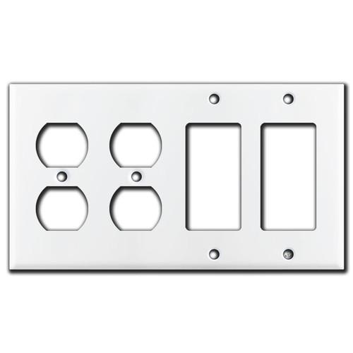 2 Duplex Outlet 2 Decora Rocker GFI Switch Plates - White