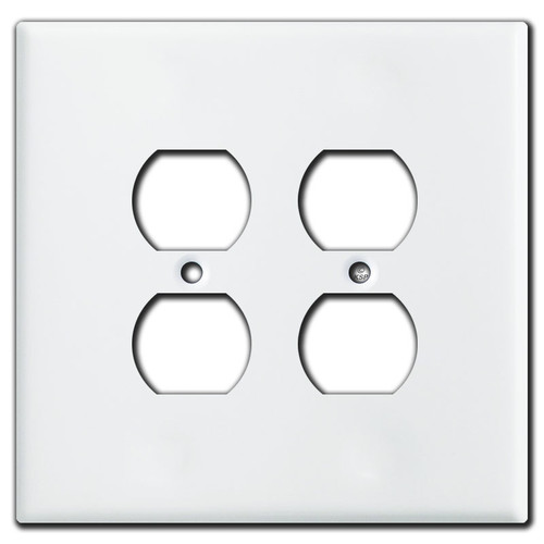 White Oversized 2 Gang Duplex Outlet Switch Plates for 4 Plugs
