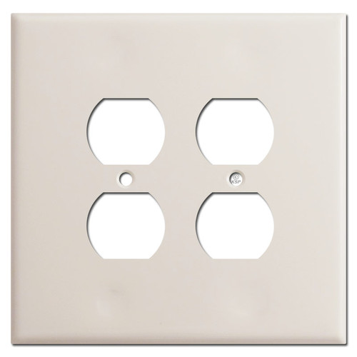 Jumbo 2 Gang Outlet Cover Plates for 4 Plugs - Light Almond