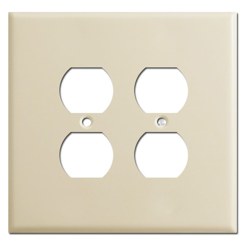 Oversized Two Gang Outlet Covers for 4 Plugs - Ivory