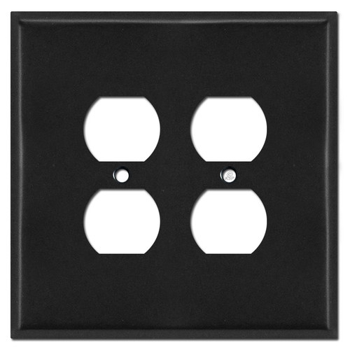 Oversized 2 Gang Outlet Switch Plates for 4 Sockets - Black