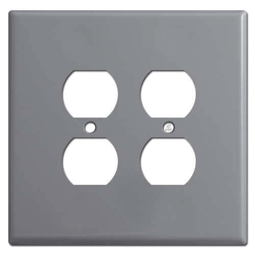 Oversized Double Gang Outlet Switch Wallplates for 4 Plugs - Grey