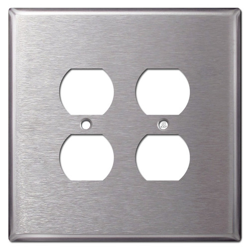 Jumbo 2 Gang 4 Plug Outlet Covers - Spec Grade Stainless Steel