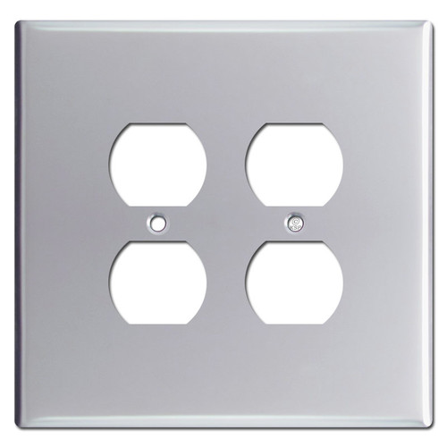 Jumbo Double Gang 4 Outlet Plug Switch Plates - Polished Chrome