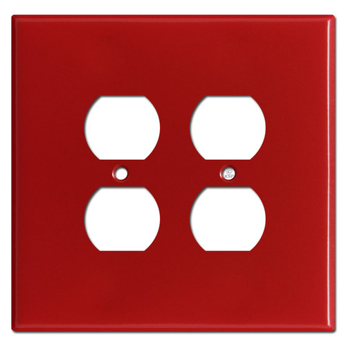 Oversized 2 Duplex Outlet Switch Cover Plates for 4 Plugs - Red