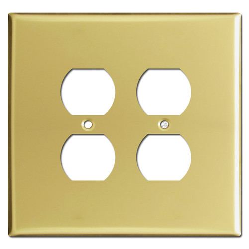 Oversized 2 Duplex Outlet Switch Plates for 4 Plugs - Polished Brass