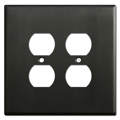 Oversized 2 Duplex Outlet Covers for 4 Plugs - Dark Bronze