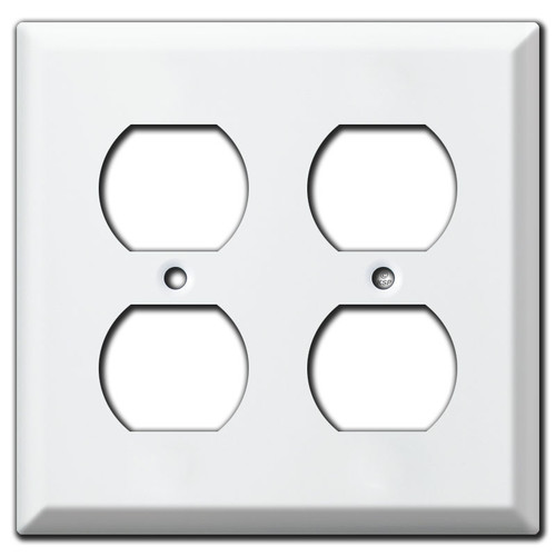 Deep Double Outlet Bevel Edge Switch Plate Covers - White