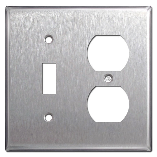 Toggle Duplex Outlet Cover Plate - Spec Grade Stainless Steel