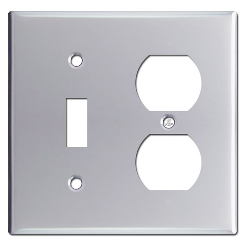 1 Toggle 1 Duplex Outlet Combo Switch Plates - Polished Chrome