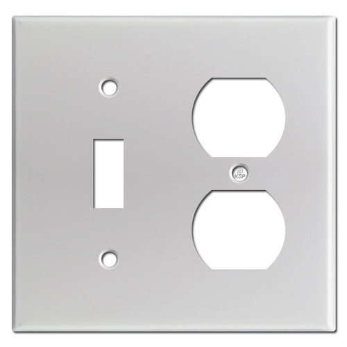 Toggle Duplex Outlet 2 Gang Combo Switch Plates - Brushed Aluminum