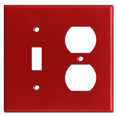Toggle Duplex Outlet Two Gang Combo Switch Plates - Red