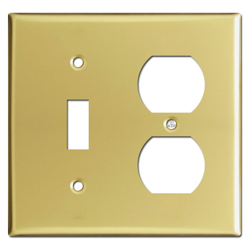 Toggle Duplex Outlet Combination Wall Plates - Polished Brass