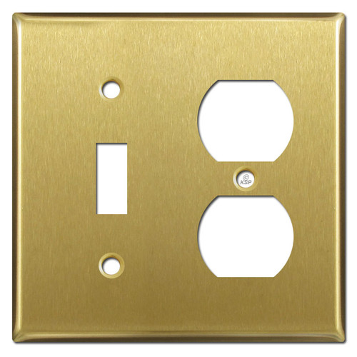 Toggle Duplex Outlet Wallplates - Satin Brass