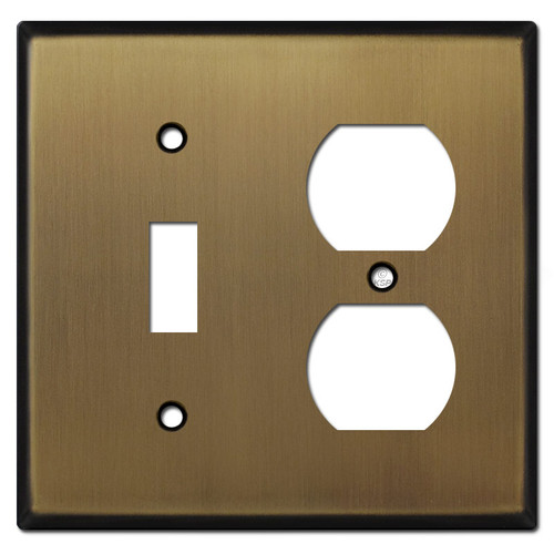 Duplex Outlet Toggle Switch Plates - Antique Brass