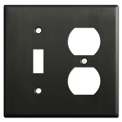 Toggle Duplex Receptacle Switch Plate - Dark Bronze