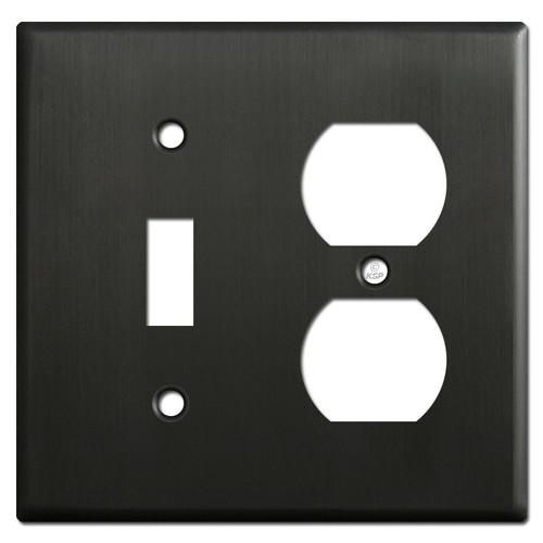 Toggle Duplex Receptacle Switch Plate - Dark Bronze