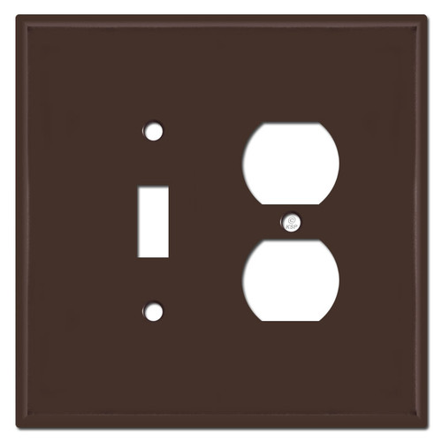 Jumbo Toggle Outlet Combo Switch Plate Covers - Brown