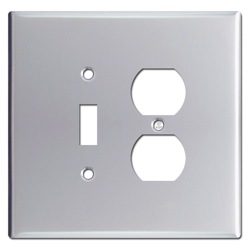 Oversized Toggle Outlet Switch Plate - Polished Chrome