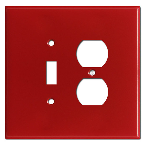Jumbo 1 Toggle 1 Outlet Combination Covers - Red
