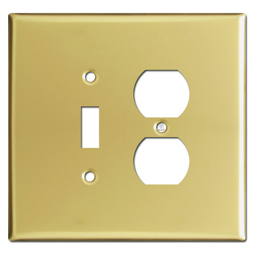 Oversized 1 Toggle 1 Outlet Switch Plates - Polished Brass