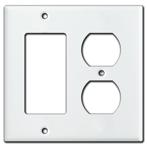 1 Rocker 1 Outlet Switch Plates for Duplex & Decora - White