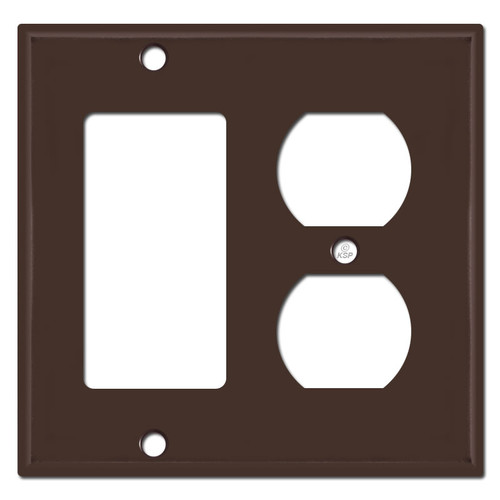 1 Decora 1 Outlet Cover Combination Switch Plates - Brown