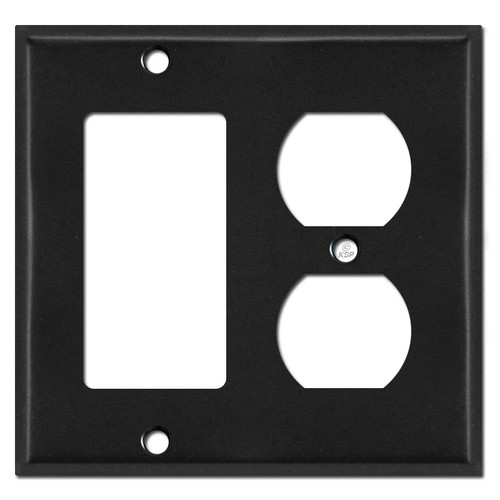 1 Rocker GFCI 1 Duplex Outlet Covers - Black