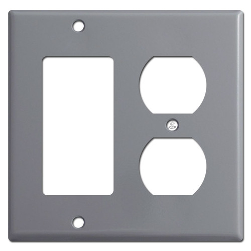 1 GFCI Rocker 1 Outlet Cover Plates - Gray
