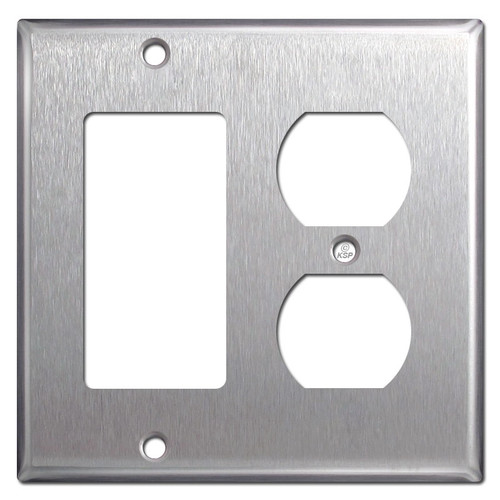 1 Decora Rocker 1 Outlet Spec Grade Stainless Steel Switchplates