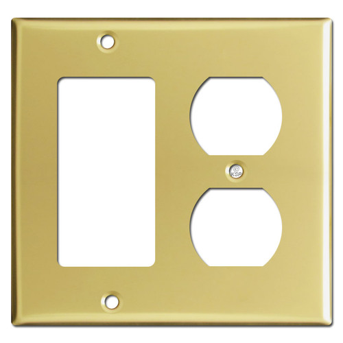 1 Decora Rocker 1 Outlet Cover Switchplate - Polished Brass