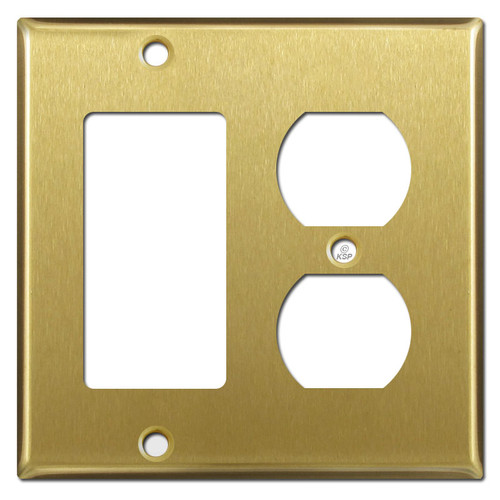 1 Rocker and 1 Outlet Cover Switch Plate - Satin Brass