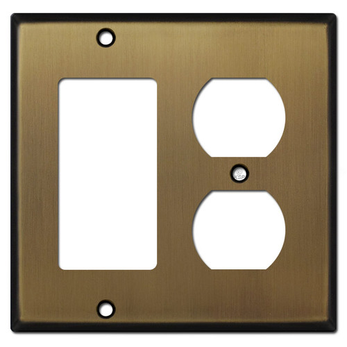1 Decora Switch 1 Outlet Cover Wall Plates - Antique Brass