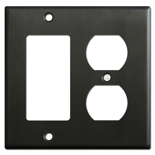 1 Duplex Outlet 1 Decora Rocker Switch Cover Plates - Dark Bronze
