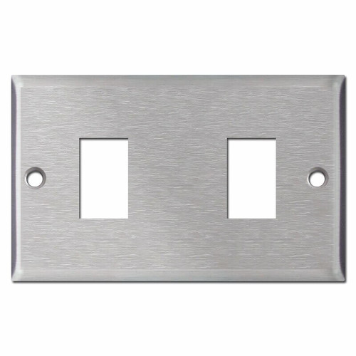 Old Type 2 GE Low Voltage Switch Plates - Satin Stainless Steel