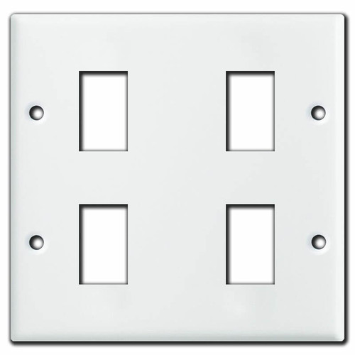 GE Old Style 2 Gang 4 Low Voltage Switch Wall Plates - White