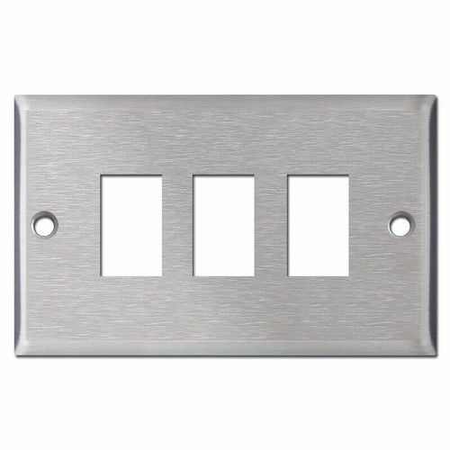 GE Old Style 3-Switch Low Voltage Switch Wallplates - Satin Stainless Steel
