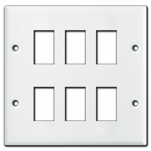 GE Old Style White 2 Gang 6 Switch Plate Cover