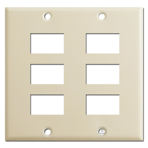 Old Style Two Gang Ivory 6 GE Light Switch Plate