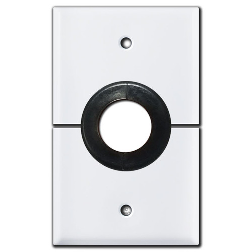 "Sectional Cable 1"" Hole Horizontal Split Wall Switch Plate - White"