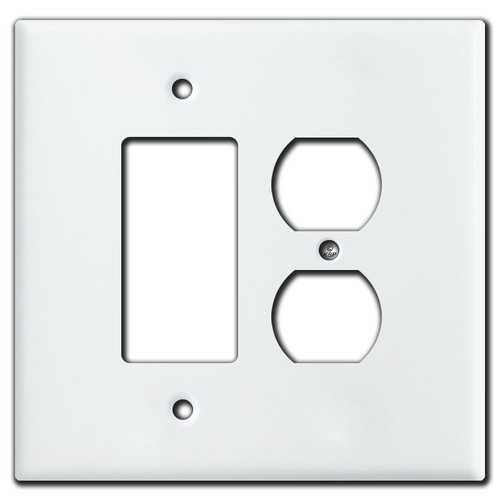 Oversized 1 Decora Rocker 1 Outlet Switch Plates - White