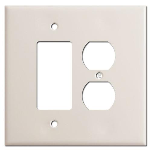 Jumbo 1 Decora Rocker 1 Outlet Switch Plates - Light Almond