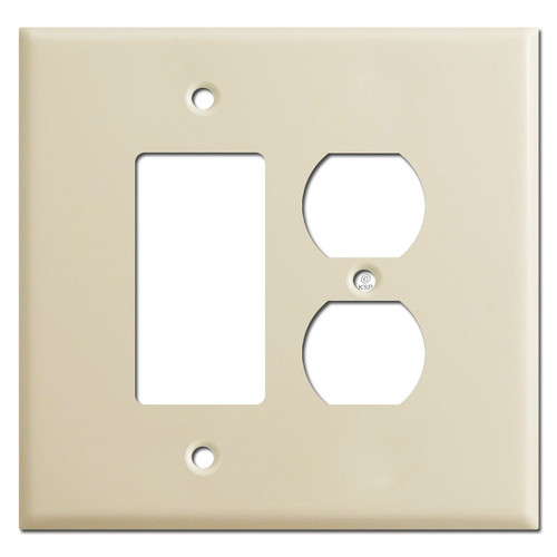 Oversized Combo Rocker & Duplex Outlet Cover Plates - Ivory