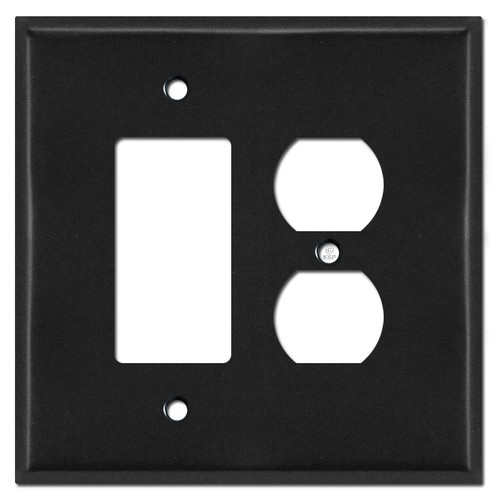 Oversized 1 Duplex Outlet 1 Decora Rocker Switch Plates - Black