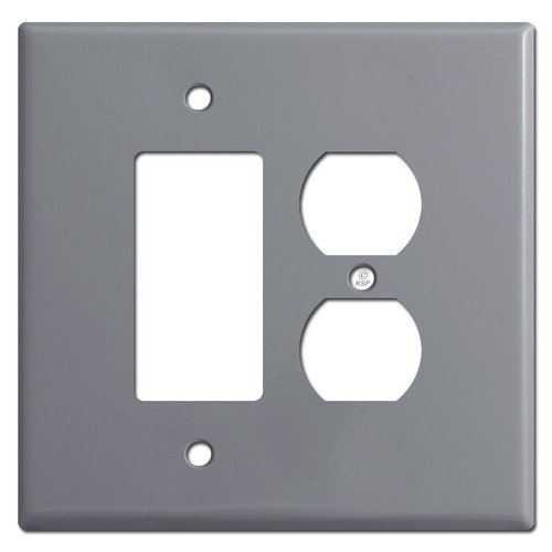 Oversized Combo Rocker Switch & Duplex Outlet Cover Plates - Gray