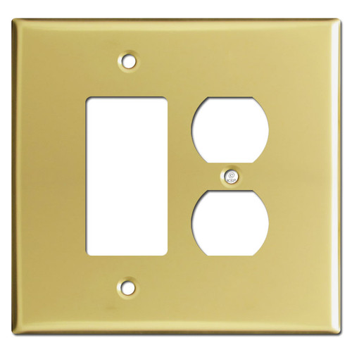 Oversized 1 Decora Rocker 1 Outlet Switch Plates - Polished Brass