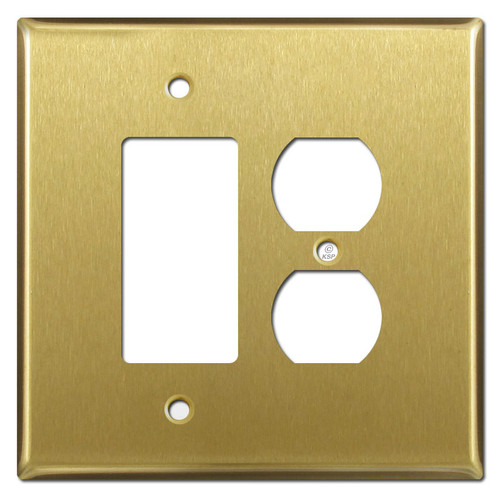 Jumbo 1 Duplex Outlet 1 Decora Rocker Switch Plates - Satin Brass